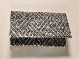 ギルディング和紙カードケース 紗綾紺地銀箔の画像
