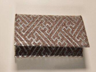 ギルディング和紙カードケース 紗綾茶地銀箔の画像