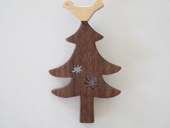 ブローチ もみの木と鳥(ダークブラウン)の画像