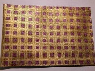 ギルディング和紙ブックカバー チェック赤地金箔の画像