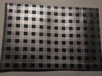 ギルディング和紙ブックカバー チェック黒地銀混合箔の画像