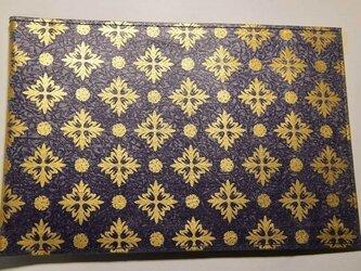 ギルディング和紙ブックカバー 洋花紫地金箔の画像