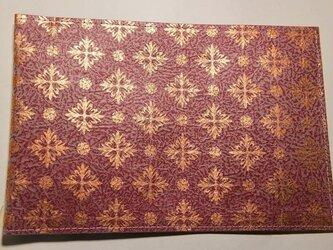 ギルディング和紙ブックカバー 洋花赤地銅箔の画像