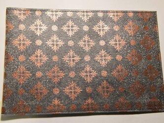 ギルディング和紙ブックカバー 洋花黒地銅箔の画像