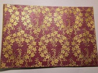 ギルディング和紙ブックカバー 桔梗赤地金箔の画像