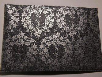 ギルディング和紙ブックカバー 桔梗黒地銀箔の画像