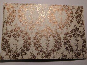 ギルディング和紙ブックカバー 桔梗白地黄混合箔の画像