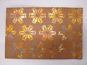 ギルディング和紙ブックカバー柿渋染め 雪結晶黄混合箔の画像