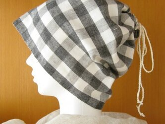 ネックウォーマーにもなる巾着ガーゼ帽子チェックCGL-004-Cの画像