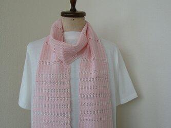 手織り ほんのりきらめくストール*ピンクの画像