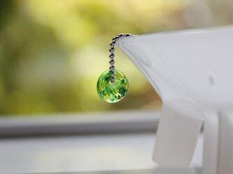 蜻蛉玉のプチネックレス(緑)2016-06の画像