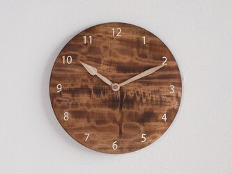 木製 掛け時計 丸 栃(トチ)材6の画像