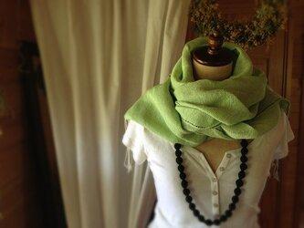 手織り リトアニアリネン糸 ストールの画像