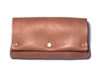 縫製のないふんわり長財布(牛革/プルアップ/ヌバック仕上げ/Pink Brown)の画像