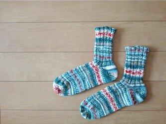 ブルー系の段染め靴下の画像
