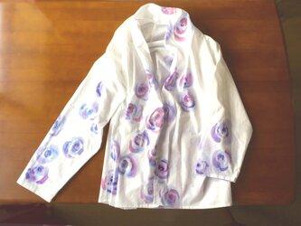 コットン羽織り【ブルーローズ】手描きの画像