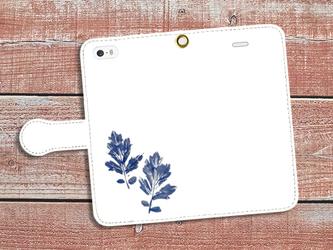 【送料無料】手帳型スマホケース 葉っぱからのおくりもの1(青×白)の画像