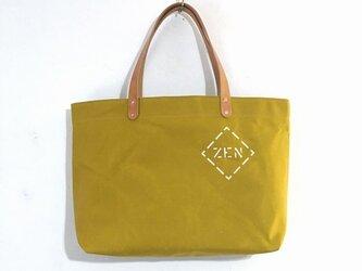 お好きな文字を鞄に如何ですか?パラフィン帆布からしシンプルトートM IND_BNP_0447の画像