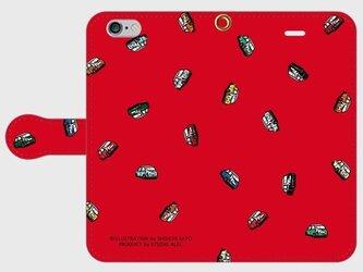 ミニクーパー・イラスト・スマホケース(手帳型)iPhone&Android対応 10色バリエーションの画像