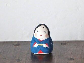 ミニお多福さん(青)の画像