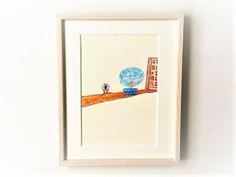 「沈丁花の思い出」イラスト原画/額縁入りの画像