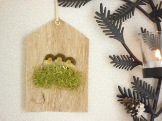 こうぞ紙の小鳥のインテリアフレーム(メジロのひな若草色A)の画像