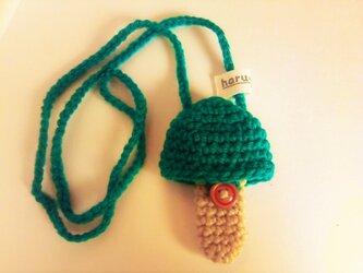 ホルン マウスピースケース(毛糸)キノコ型【青緑】首掛け用の画像