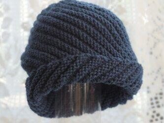 毛100% ななめ編みのニット帽子(青みどり色)の画像