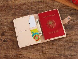 【切線派】牛革二つ折り手作りパスポート短財布(011001)の画像