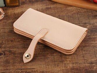 【切線派】牛革二つ折り手作り手縫い写真いれ長財布(012001)の画像