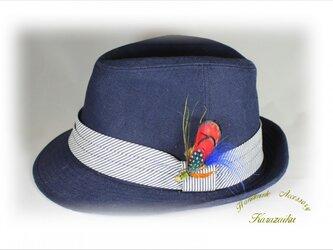 ★赤い羽、青い水玉の羽のハットピン・ブローチ★の画像