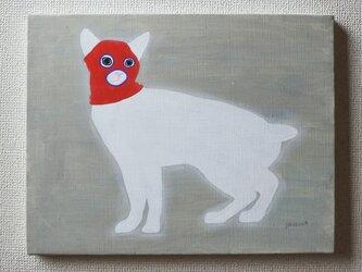 目出し帽のネコ(赤) F6サイズ絵画の画像