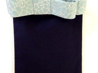 大人のリボンバッグ   紺×花柄ブルーリボンの画像