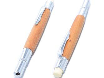 [SALE!] 木製のペンシルホルダー(イチイの種類;クロムメッキ)PNCH-C-YEWの画像