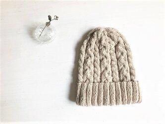 コットン帽子・なわ編み×2[オフホワイト]の画像