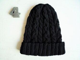 コットン帽子・なわ編み×2[ブラック]の画像
