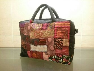 FRANCE RIBBON PATCHWORK BAG (RED)の画像