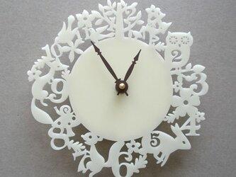 Decoylabの掛け時計 It's my forest(アイボリー)の画像