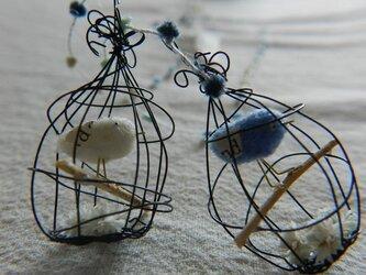 しあわせの青い鳥 ぷっくりかご ブルー&ホワイトの画像