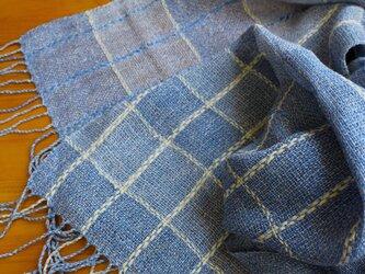 手織のストール marine blue -1の画像