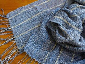 手織のストール marine blue -2の画像