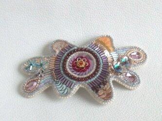 【ビーズ刺繍】ビーズアメーバーのバレッタ 春色のの画像