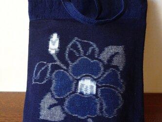 手織り久留米絣:椿のミニバッグ(MB-9)の画像