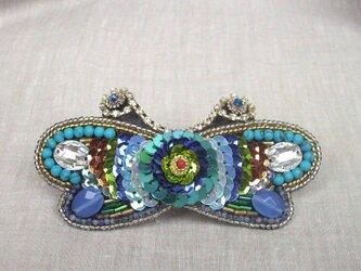 【ビーズ刺繍】蝶のバレッタ #7の画像