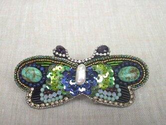【ビーズ刺繍】蝶のバレッタ #2の画像