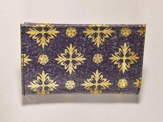 ギルディング和紙カードケース 西洋花紫地金箔の画像
