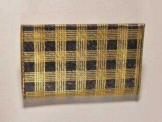 ギルディング和紙カードケース 格子黒地金箔の画像