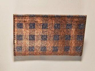 ギルディング和紙カードケース 格子紺地銅箔の画像