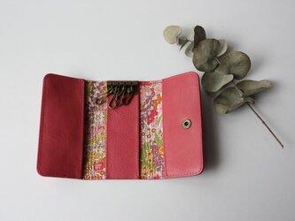 牛革とリバティープリントのキーケース ピンクの画像