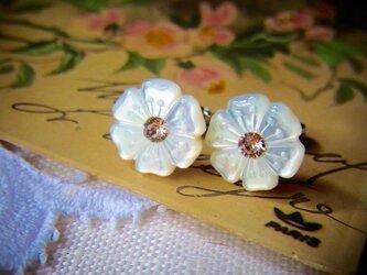 マザーオブパール お花のピアスの画像